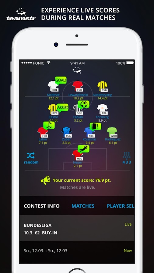 teamstr fantasy football- screenshot