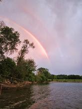 Photo: Double rainbow at sunset over Eastwood Lake in Dayton, Ohio.