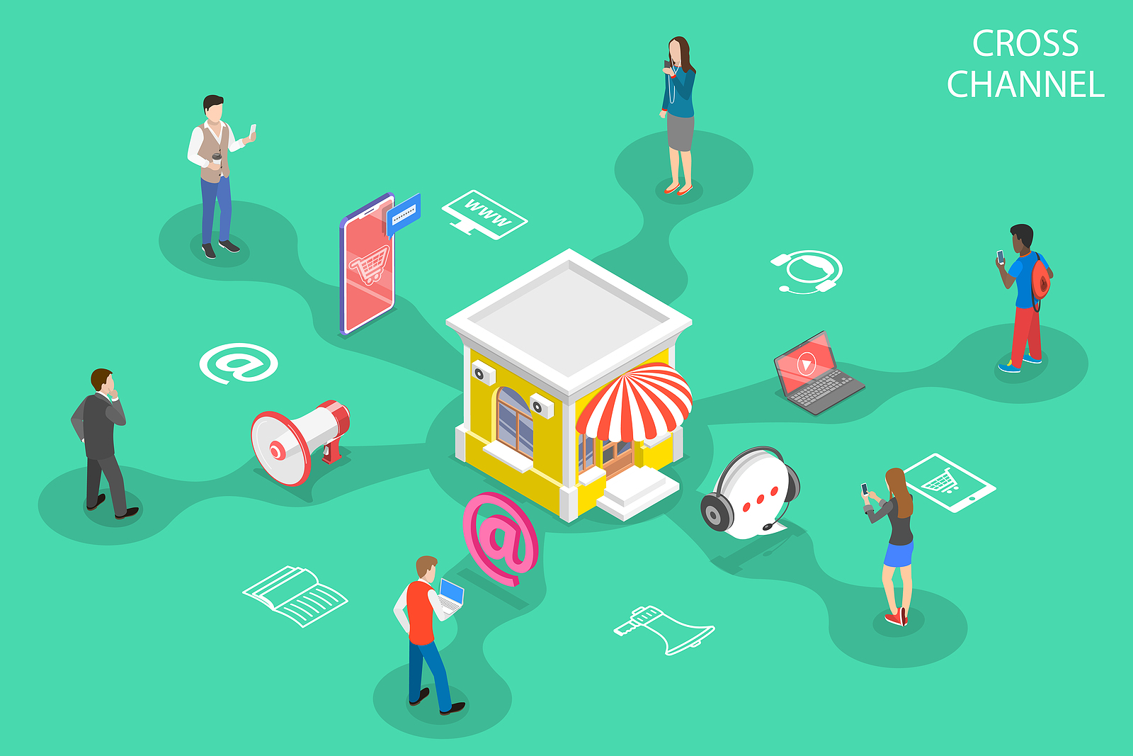 Image on a green background of diverse customers interacting with the same store on different fronts with varying online platform icons connecting them.