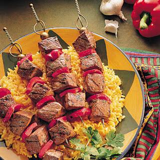 Spicy Portuguese Beef Steak Kabobs.