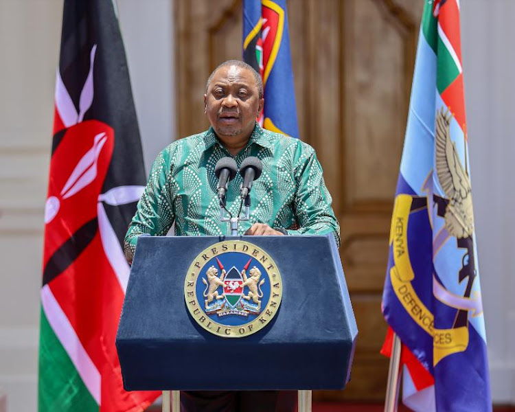 President Uhuru Kenyatta gives his address during a press briefing on the roll out of Google Loon 4G to mitigate Coronavirus Work Disruptions, at State House, Nairobi on Monday, March 23, 2020.