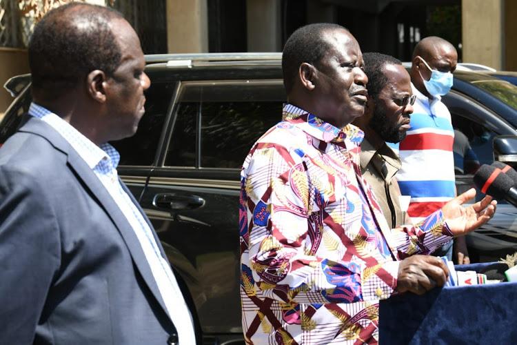 Kakamega Governor Wycliffe Oparanya, ODM Raila Odinga and Kisumu Governor Anyang' Nyong'o in Kisumu on December 7, 2020.