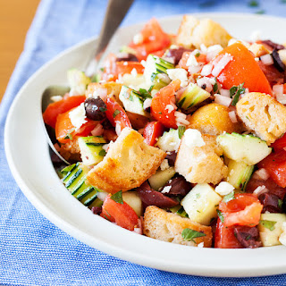 Panzanella (Italian Bread Salad) with Olives and Feta