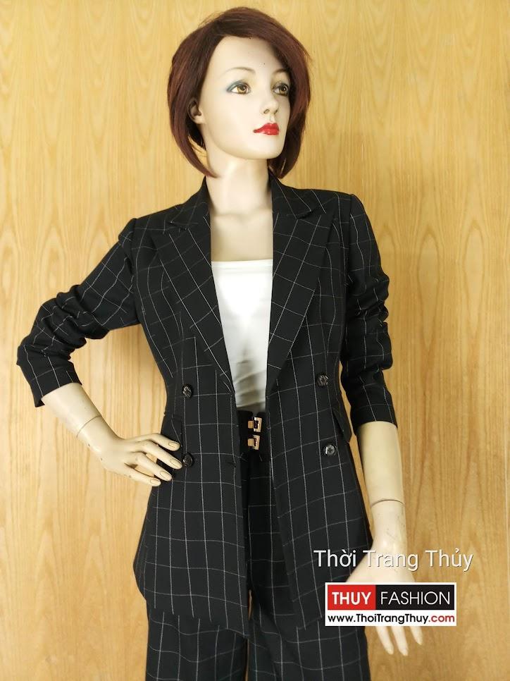 Áo blazer nữ kẻ caro và quần culottes V635 thời trang thủy hải phòng