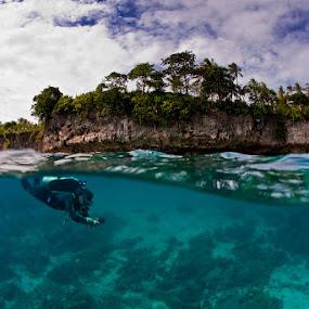 sky, land, water - split by Paul Cowell - Landscapes Underwater