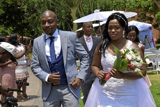 Mafori and Lillian Mphahlele during their wedding ceremony at Meropa Casino in Polokwane, Limpopo.