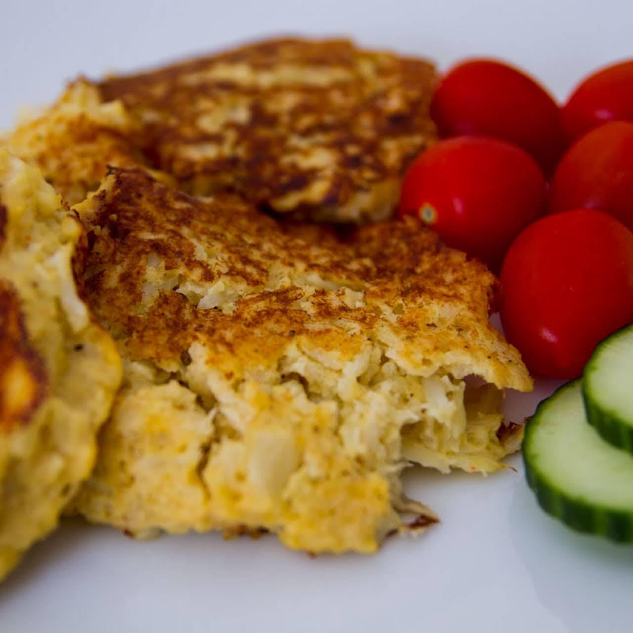 Low Carb Cheesy Cauliflower Pancakes