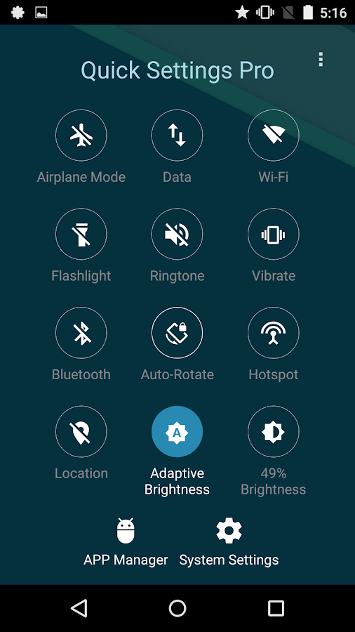 Quick Settings Pro - Toggle & Flashlight- screenshot