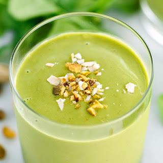 Matcha Green Tea Smoothie with Peaches.