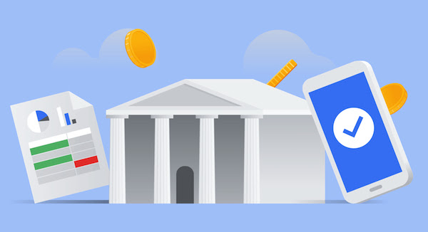 Thumbnail of a bank building with a spreadsheet to the left and a mobile phone to the right