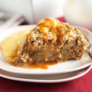 Super Easy Caramel Pear Crumble Cake.