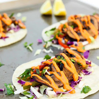 Roasted Balsamic Portobello Tacos with Spicy Red Pepper Sauce.