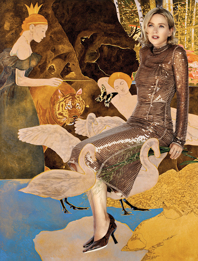 Burberry bronze sequin mesh turtleneck evening dress. Jimmy Choo Marcela snake printed leather scoop heel pumps Naomi's own rings.  ————————— The Queen of the Night turns Leda into a swan and a squirrel predicts a storm. Oil on canvas,  diptych, 130 x 160 cm per canvas, 2013