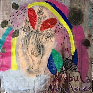 nebuleuse nebula, peinture, sophie lormeau, artiste contemporaine, art figuratif, figuration libre, art singulier, french artist, paris, happy, main, contemporary art, sophielormeau, coeur, tatouage, bouquet de rose, arc en ciel, ailes de papillon,