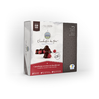 Chocolat Canneberges enrobées de chocolat noir Boîtes