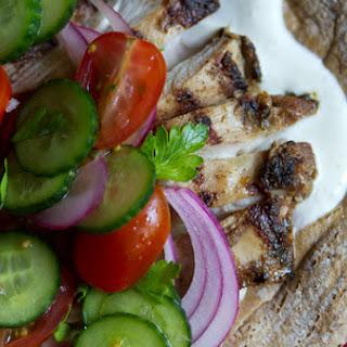 Chicken Shawarma with Tomato-Cucumber Salad