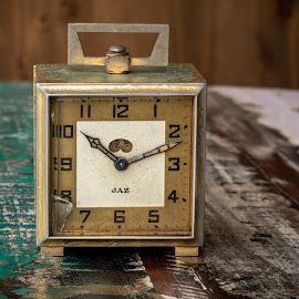 Les annees folles by Bogdan Rusu - Artistic Objects Still Life ( hour, vintage, wood, clock, brass )