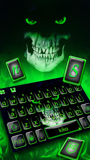 green horror devil keyboard -flaming skull screenshot 2