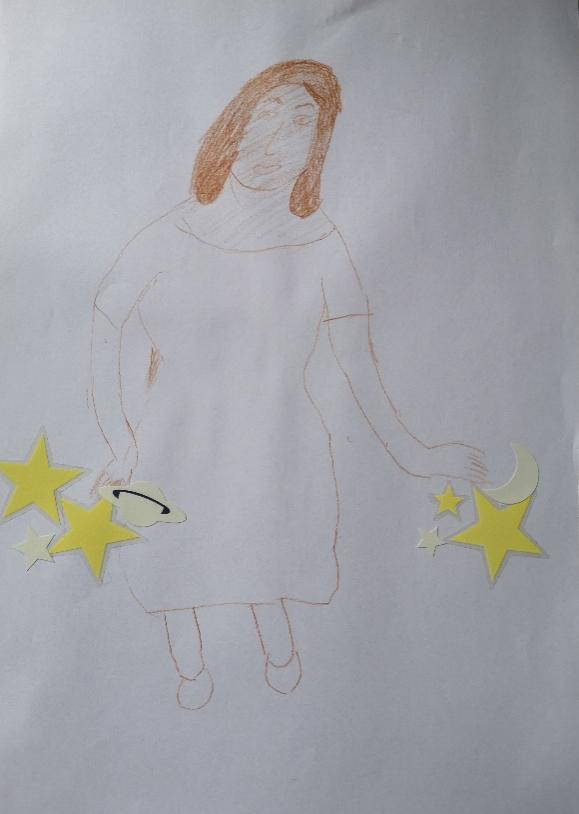 Woman in a dress holding stars and planets.