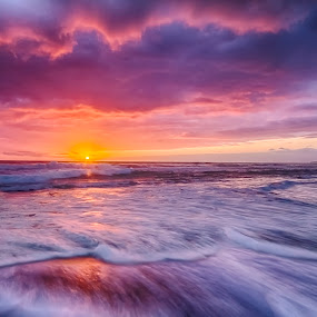 Seven Mile Sunrise by Andy Hutchinson - Landscapes Beaches ( seven mile beach, hdr, waves, australia, pacific, ocean, beach, sunrise )