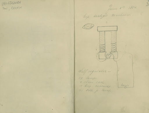 A page from Tesla's Work Journal in Edison's Laboratory