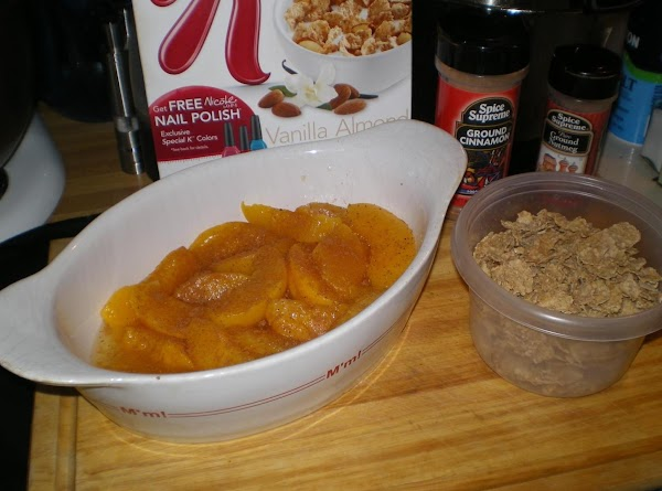 Place drained peaches in ungreased 2-quart casserole dish. Sprinkle a little (or to taste)cinnamon...