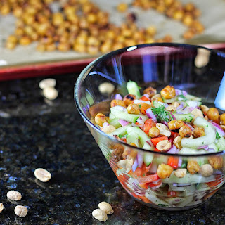 Thai-Inspired Hydrating Cucumber Salad with Roasted Chickpeas.