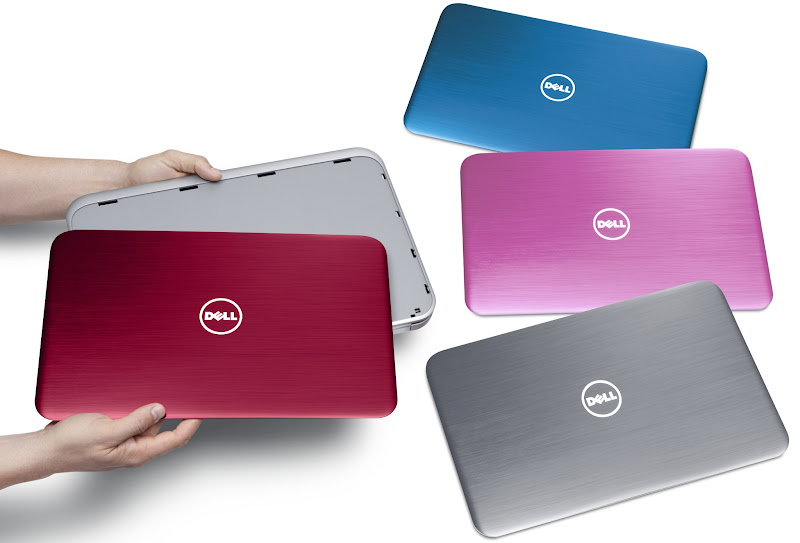 Photo: Dell Inspiron 15R notebook computer with SWITCH lid in Fire Red. Additional SWITCH lids in Peacock Blue, Lotus Pink, and Moon Silver - http://dell.to/LZBTKk