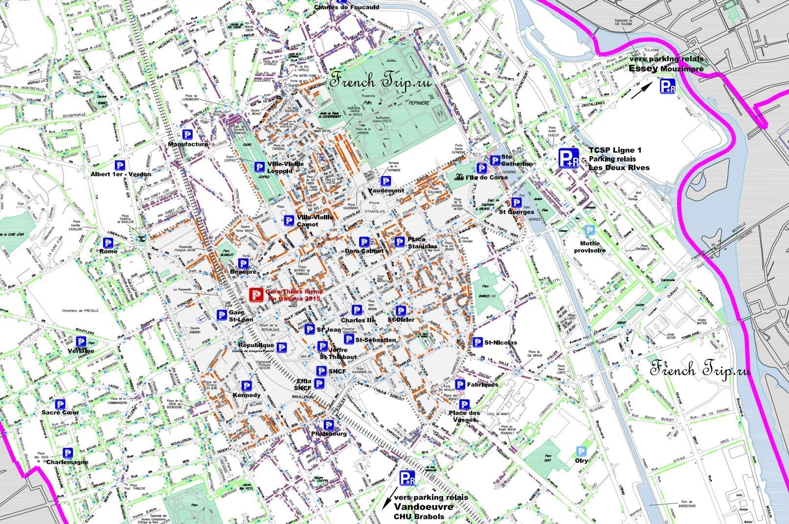 Паркинги в Нанси на карте города - Парковки в Нанси
