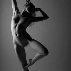Delicate ballet by Nigel Johnson - Nudes & Boudoir Artistic Nude ( black and white, shadow, katy cee )