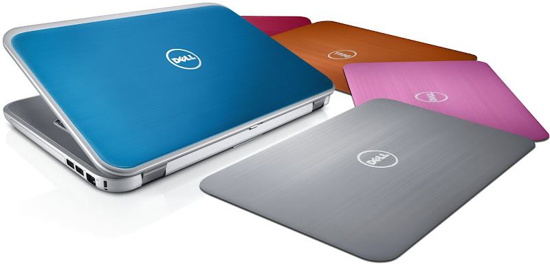 Photo: Dell Inspiron 15R notebook with SWITCH lids in Peacock Blue, plus lids in Moon Silver, Lotus Pink, Bronze Orange, and Fire Red -- http://dell.to/LZBTKk