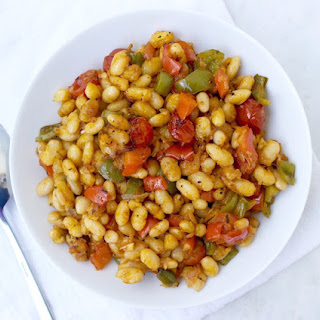 Roasted White Beans with Vegetables Greek Style.