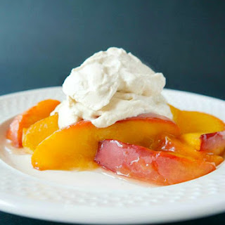 Roasted Miso Glazed Peaches with Ginger Whipped Cream.