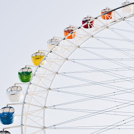 Noria by Valentina Cantera - City,  Street & Park  Amusement Parks ( color, japan, asia, amusement parks, noria, colors, high, amusement ride, round, colored, amusement park, circle, colorful, amusement )