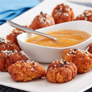 5 Spice Sesame Popcorn Chicken with the Apricot Dipping Sauce.