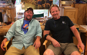 Photo: Old...old friends Brian Flechsig and Kelly Galloup at Kelly's Slide Inn on the banks of the Madison River in Montana. They just finished hosting the 2014 group.....a Mad River Outfitters Summer tradition for over 10 years now. Look for the 2015 dates to be announced any moment!