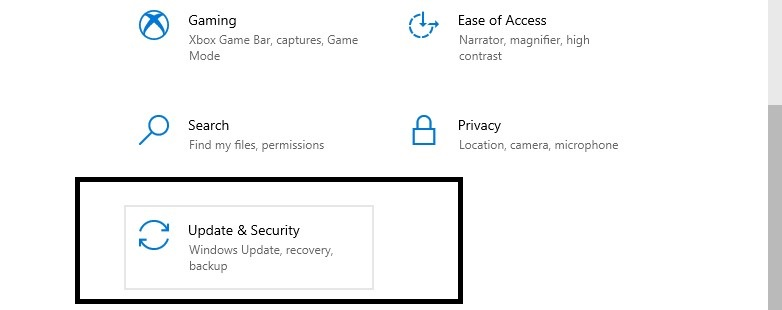 update and security in settings