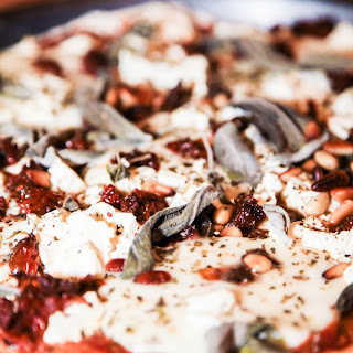Pizza with Feta, Sage, Sundried Tomatoes and Pine Nuts