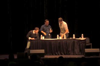 Photo: What we did at night - Nerdist podcast; hosts Chris Hardwick, Matt Mira and Jonah Ray