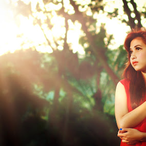 Bright The Sun by Wira Nclr - People Fine Art ( red dress )
