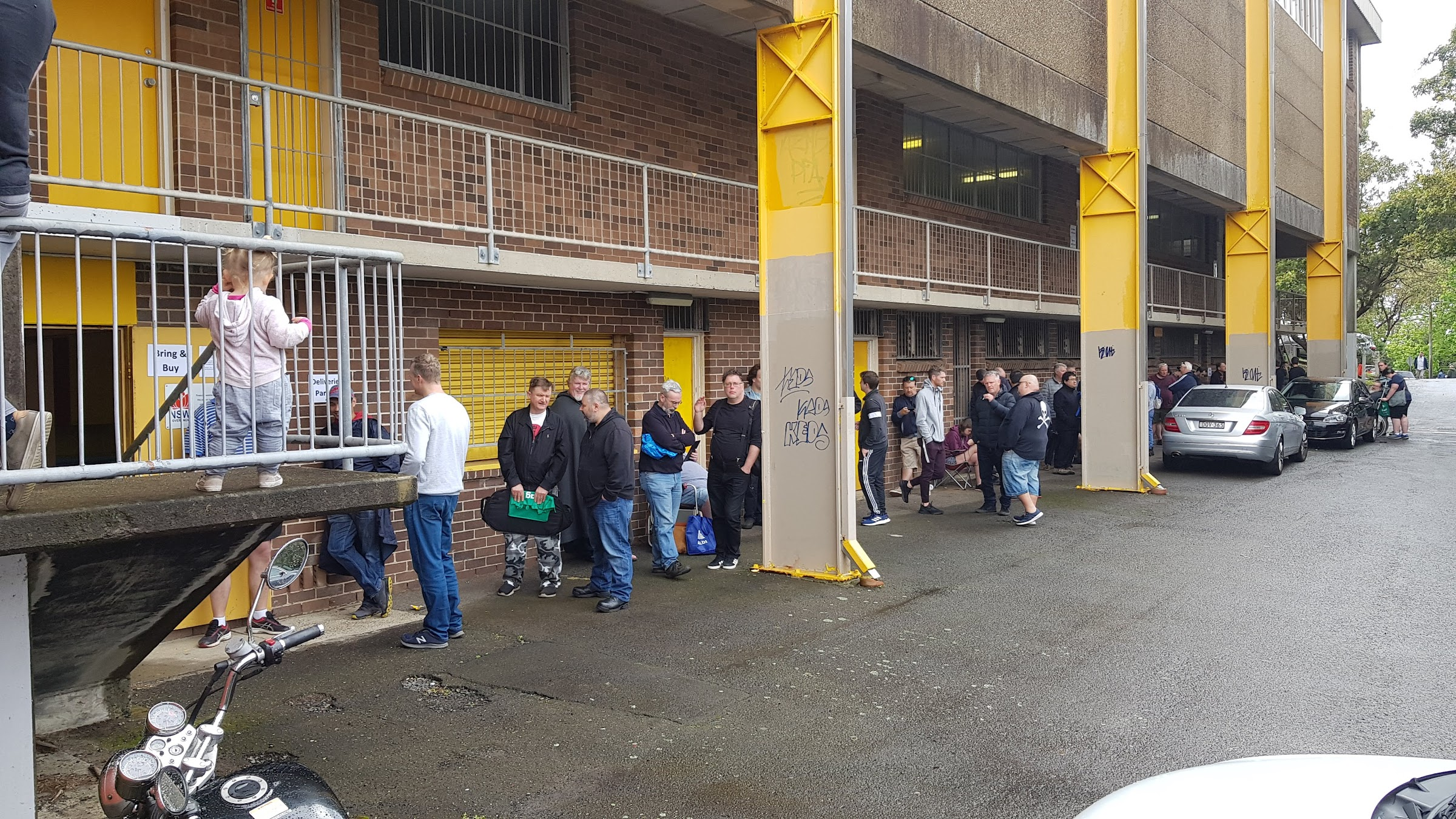 Lining up in the morning for first picks at the 2nd hand Bring And Buy hall