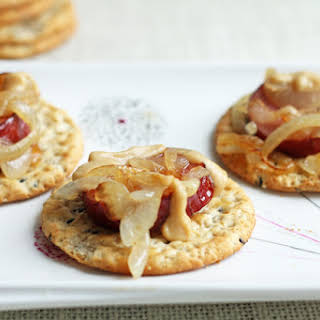 Crackers with Sausage and Onion.