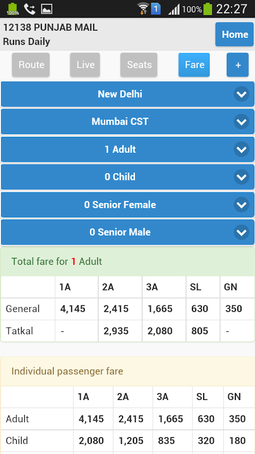 indian train enquiry mobile application