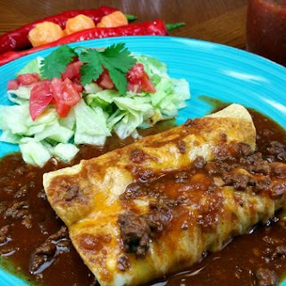 Chili Gravy with Beef Enchiladas.