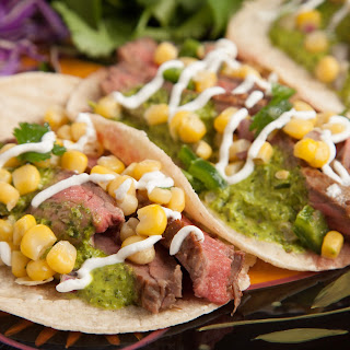 Grilled Flank Steak Tacos with Chimichurri and Fresh Corn Salsa