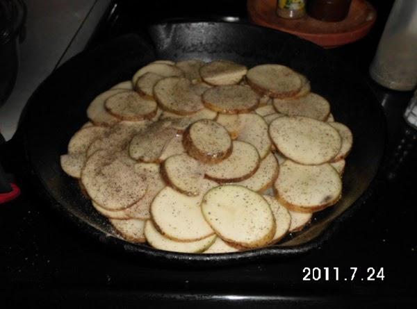 Wash potatoes and slice into medium thick rounds.  I like using a mandolin...