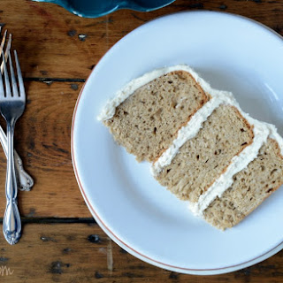 Gluten Free Spice Cake with Maple Frosting.