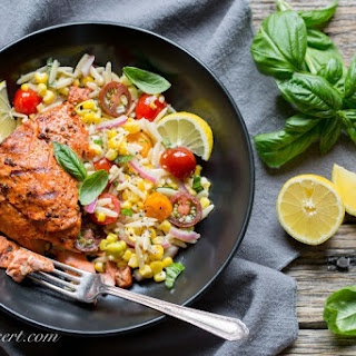 Grilled Salmon & Orzo Corn Salad.