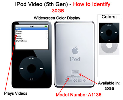 used 30gb Black Apple iPod Video 5th Gen 30 GB A1136 Classic 5g Refurbished