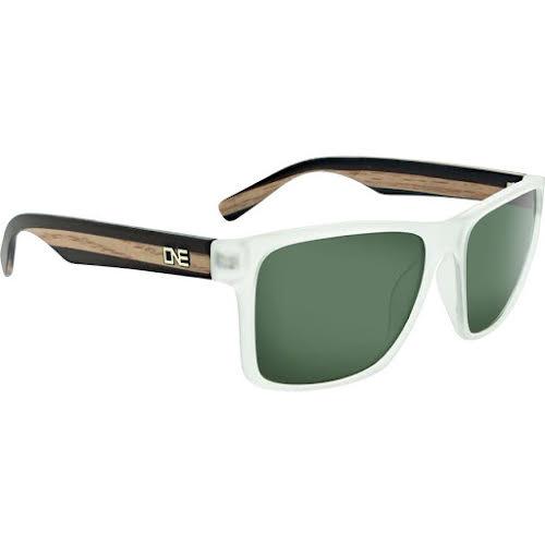 Optic Nerve ONE Bankroll Polarized Sunglasses: Matte Crystal/Wood with Polarized Smoke Lens